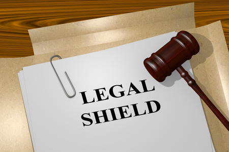 solicitor: 3D illustration of LEGAL SHIELD title on Legal Documents. Legal concept. Stock Photo