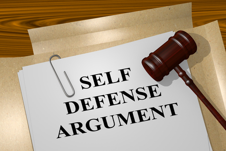 justification: 3D illustration of SELF DEFENSE ARGUMENT title on Legal Documents. Legal concept.
