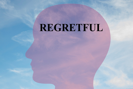guilt: Render illustration of REGRETFUL script on head silhouette, with cloudy sky as a background. Human mental concept. Stock Photo