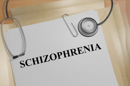 losing knowledge: 3D illustration of SCHIZOPHRENIA title on medical documents. Medicial concept.