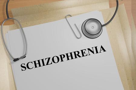 schizophrenia: Ilustración 3D del título ESQUIZOFRENIA de documentos médicos. medicial concepto.