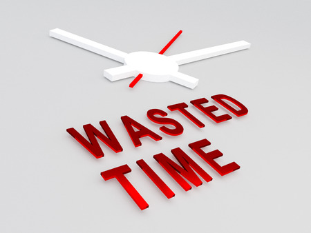 wasted: 3D illustration of WASTED TIME title with a clock as a background. Time concept. Stock Photo