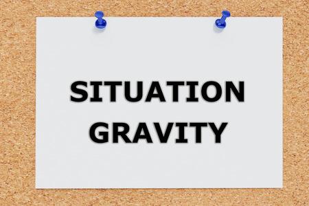 gravedad: Ilustraci�n 3D de gravedad situaci�n sobre el tablero de corcho. concepto de situaci�n.