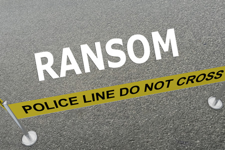 evidence bag: 3D illustration of RANSOM title on the ground in a police arena. Police concept