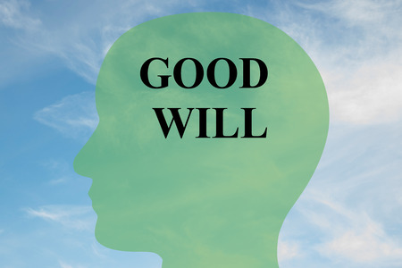 reconciliation: Render illustration of GOOD WILL script on head silhouette, with cloudy sky as a background. Human mind concept. Stock Photo