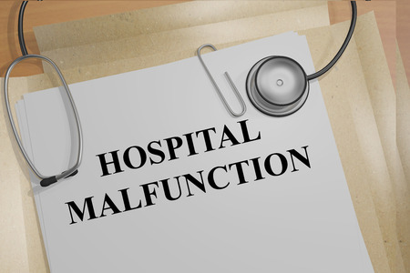 malfunction: 3D illustration of HOSPITAL MALFUNCTION title on medical documents. Medicial concept. Stock Photo