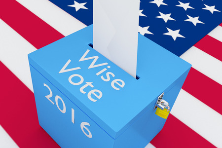 polling station: 3D illustration of Wise Vote, 2016 scripts and on ballot box, with US flag as a background. Election Concept.