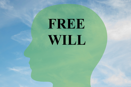 goal cage: Render illustration of FREE WILL script on head silhouette, with cloudy sky as a background. Human mind concept.