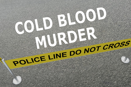 helpless: 3D illustration of COLD BLOOD MURDER title on the ground in a police arena. Police concept