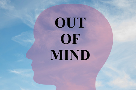 harmony idea: Render illustration of OUT OF MIND script on head silhouette, with cloudy sky as a background. Human mental concept. Stock Photo