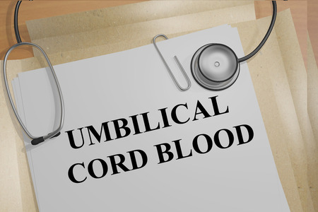 embryonic development: 3D illustration of UMBILICAL CORD BLOOD title on medical documents. Medicial concept.