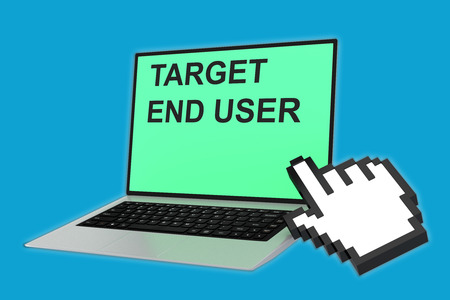 end user: 3D illustration of TARGET END USER script with pointing hand icon pointing at the laptop screen. Marketing concept. Stock Photo