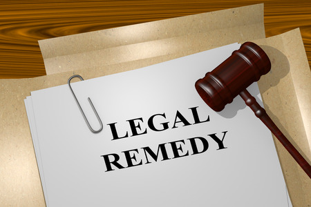 """3D illustration de """"REMEDE JURIDIQUE"""" titre sur les documents juridiques. notion juridique."""