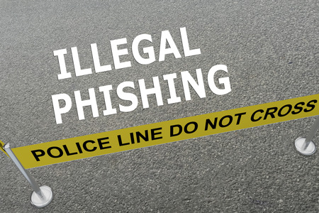 illegal: 3D illustration of ILLEGAL PHISHING title on the ground in a police arena. Police concept