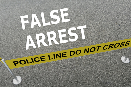 unjust: 3D illustration of FALSE ARREST title on the ground in a police arena. Police concept Stock Photo