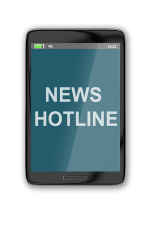 correspond: 3D illustration of NEWS HOTLINE title on cellular screen, isolated on white. News concept.