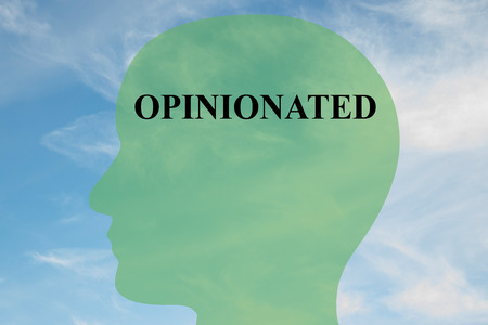 opinionated: Render illustration of OPINIONATED script on head silhouette, with cloudy sky as a background. Human mind concept.
