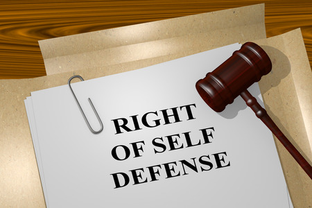 self defense: 3D illustration of RIGHT OF SELF DEFENSE title on Legal Documents. Legal concept.