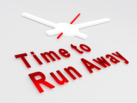 run away: 3D illustration of Time to Run Away title with a clock as a background. Time concept.