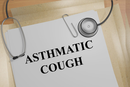 cough: 3D illustration of ASTHMATIC COUGH title on medical documents. Medicial concept.
