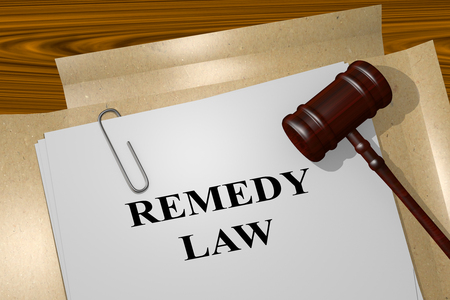 remedy: 3D illustration of REMEDY LAW title on Legal Documents. Legal concept. Stock Photo