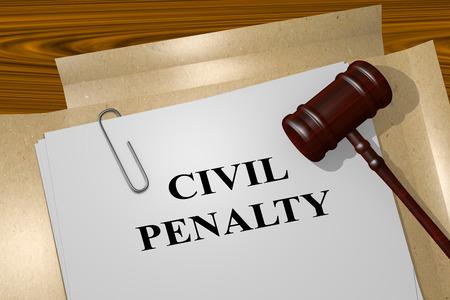 法律文書で民事罰タイトルの 3 D イラストレーション。法的概念。
