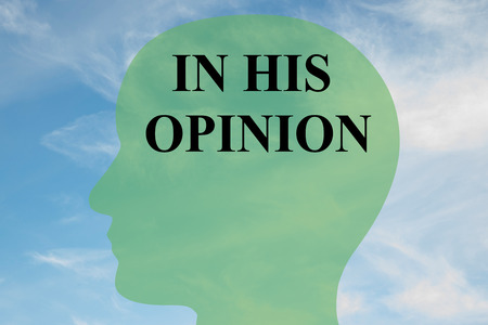 opinion: Render illustration of IN HIS OPINION script on head silhouette, with cloudy sky as a background. Human mind concept. Stock Photo