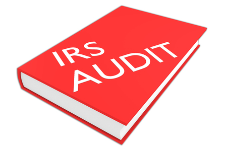 irs: 3D illustration of IRS AUDIT script on a book, isolated on white. Business concept.