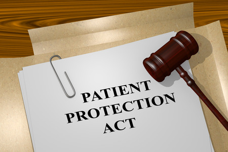medicaid: 3D illustration of PATIENT PROTECTION ACT title on Legal Documents. Legal concept. Stock Photo