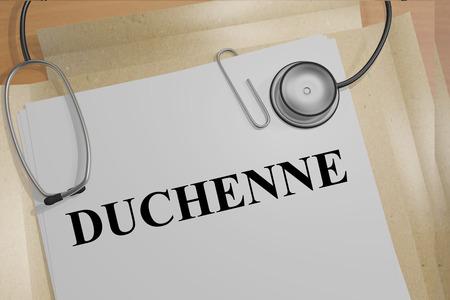 医療文書の「デュシェンヌ型筋ジストロフィー」タイトルの 3 D イラストレーション。Medicial のコンセプトです。