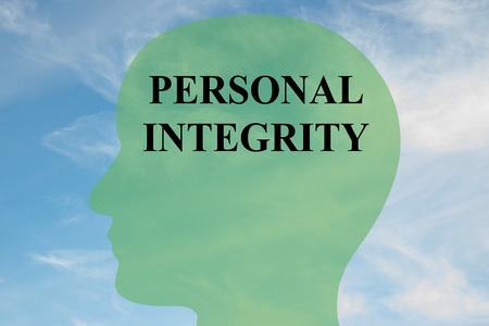 principled: Render illustration of PERSONAL INTEGRITY script on head silhouette, with cloudy sky as a background. Human mind concept.
