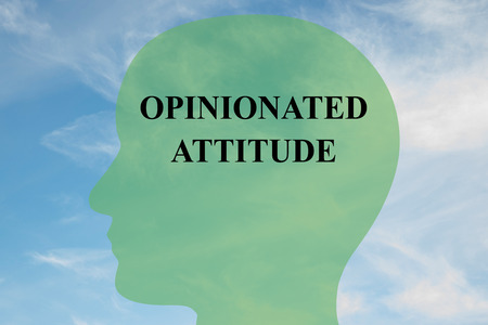 assured: Render illustration of OPINIONATED  ATTITUDE script on head silhouette, with cloudy sky as a background. Human mind concept.