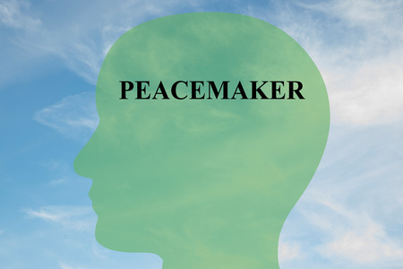 detach: Render illustration of PEACEMAKER script on head silhouette, with cloudy sky as a background. Human mind concept.