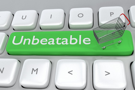 unbeatable: 3D illustration of Unbeatable script with a supermarket cart placed on a computer keyboard. Merchant concept.