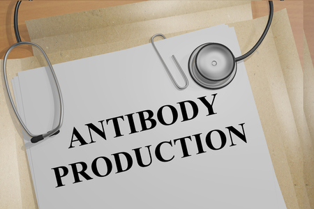 the immunization: 3D illustration of ANTIBODY PRODUCTION title on medical documents. Medicial concept. Stock Photo