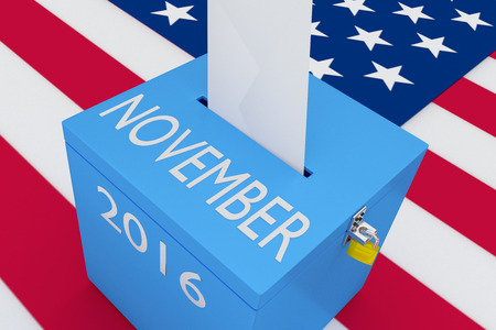 turnout: 3D illustration of NOVEMBER, 2016 scripts and on ballot box, with US flag as a background. Election Concept.