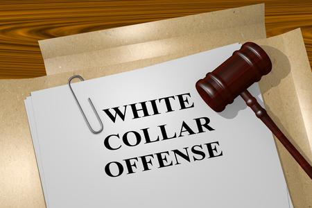 """delito: Ilustración 3D del título de """"White Collar OFENSA"""" en los documentos legales. Concepto legal. Foto de archivo"""