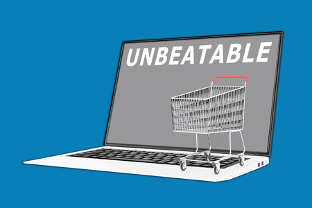 unbeatable: 3D illustration of UNBEATABLE script with a supermarket cart placed on the keyboard. Marketing concept. Stock Photo