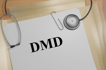 myopathy: 3D illustration of DMD title on medical documents (Duchenne Muscular Dystrophy). Medicial concept.