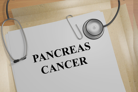 pancreatic: 3D illustration of PANCREAS CANCER title on medical documents. Medicial concept.