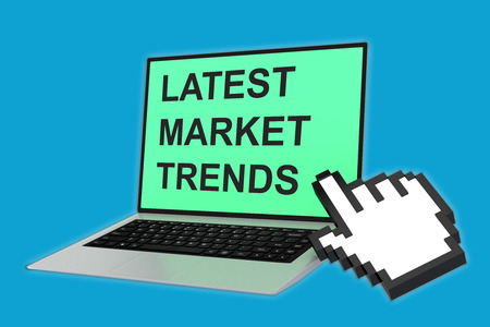 craze: 3D illustration of LATEST MARKET TRENDS script with pointing hand icon pointing at the laptop screen. Marketing concept. Stock Photo