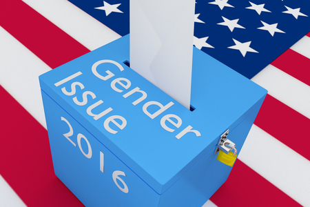 turnout: 3D illustration of Gender Issue, 2016 scripts and on ballot box, with US flag as a background. Election Concept.