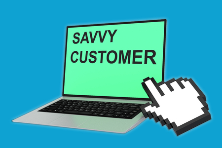 savvy: 3D illustration of SAVVY CUSTOMER script with pointing hand icon pointing at the laptop screen. Marketing concept. Stock Photo