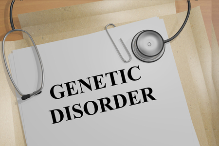 sex chromosomes: 3D illustration of GENETIC DISORDER title on medical documents. Medicial concept.