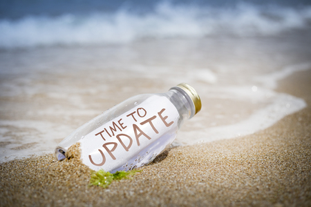 water feature: Time to update written as massage in a bottle washed ashore and layed on the sand