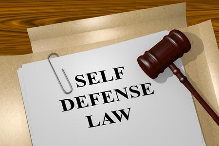 防衛: 法律文書で「自己防衛法」タイトルの 3 d イラストレーション。法的概念。