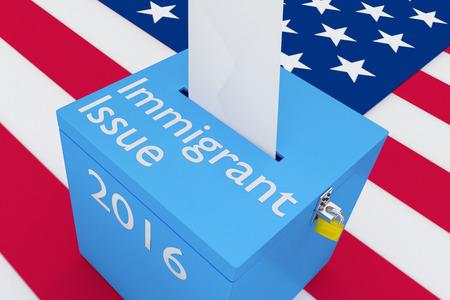 私たちの背景としてフラグと 3 D イラスト「Immigrat 号」、「2016」のスクリプトと投票箱。選挙の概念。