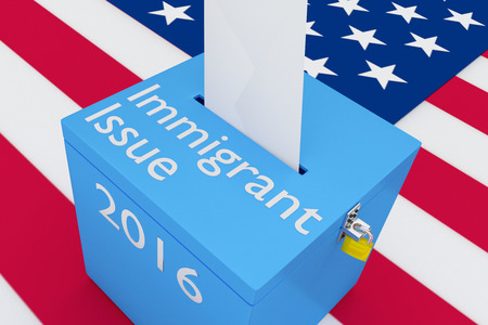 3D illustration of Immigrat Issue, 2016 scripts and on ballot box, with US flag as a background. Election Concept.