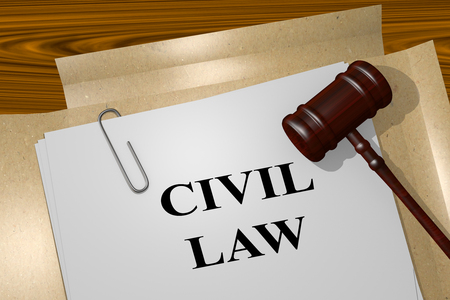 lawmaking: 3D illustration of CIVIL LAW title on Legal Documents. Legal concept.