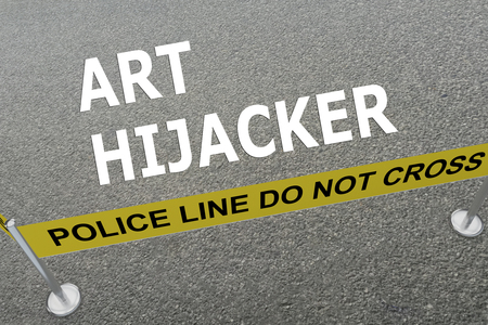compromising: 3D illustration of ART HIJACKER title on the ground in a police arena. Police concept